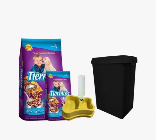 Tiernitos Cachorros 21+3k + Contenedor y Dispensador de Agua y Comida de Regalo